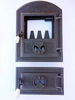 Дверцы печные со стеклом Дубок
