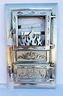 Дверцы печные со стеклом Лотос Серебристый