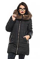 """Женская зимняя куртка с натуральной опушкой черного цвета """"Барбара"""""""