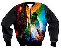 Куртка-бомбер с рукавами из кожзама