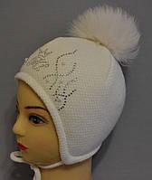 """Теплая шапка для девочки с помпоном на завязках """"Мира"""""""