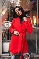 Короткое кашемировое демисезонное пальто на подкладке до 48 размера цвет красный