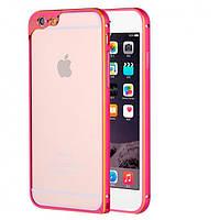 Алюминиевый бампер с защитой для камеры для iPhone 6/6S plus розовый, фото 1