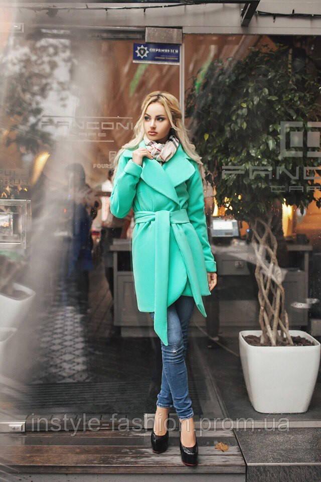 Короткое кашемировое демисезонное пальто на подкладке до 48 размера цвет бирюза