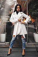 Короткое кашемировое демисезонное пальто на подкладке до 48 размера цвет бежевый