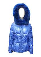 Пуховик женский Snowimage синий средней длины с мехом(песец)