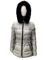 Пуховик женский Snowimage средней длины с мехом(кролик) серый