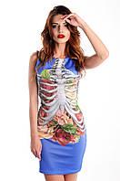 """Платье без рукавов с 3Д принтом """"Скелет, органы"""""""