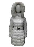 Пуховик женский Snowimage с мехом(песец) белый, длинный