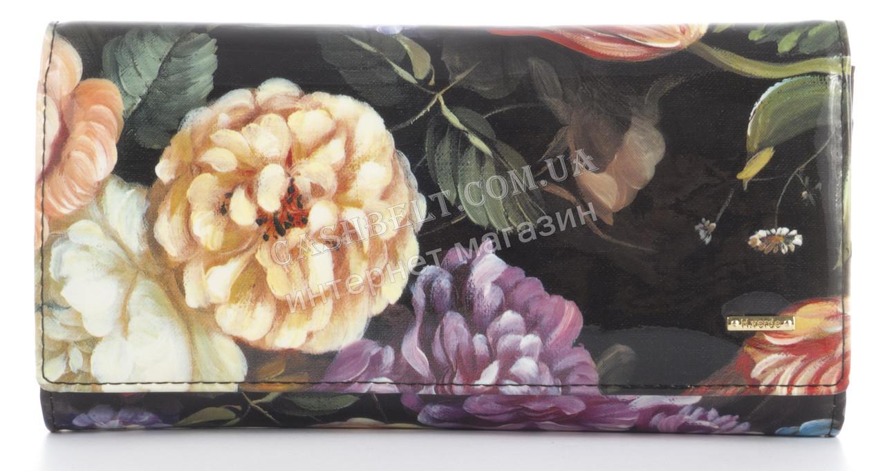 Лаковый прочный кожаный качественный стильный женский кошелек Helen Verde art. 2487C-F46 цветы