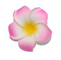 Цветок Плюмерия Малиново-Желто-Белый из фоамирана (латекса) 4 см 1 шт