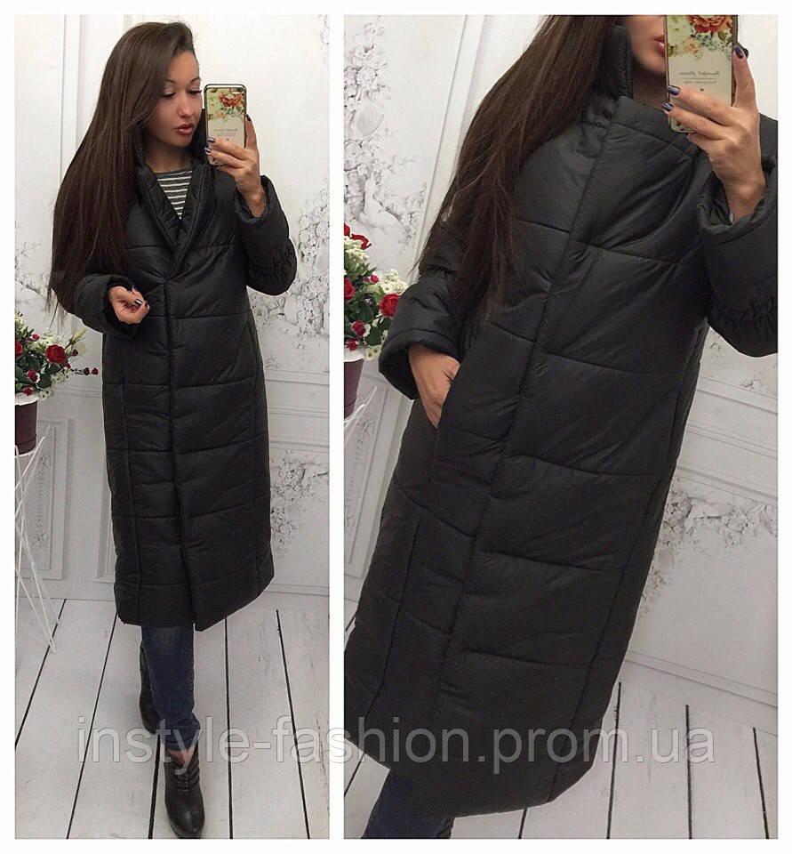 Женская удлиненная курточка на синтепоне 250 цвет черный