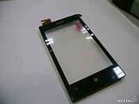 Тачскрин (сенсор) с передней панелью для Nokia 520, 525 Lumia (Black) Качество