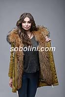 """Зимняя куртка-парка цвета хакки с красивой опушкой из  енота """"Victoria"""", под заказ, фото 1"""