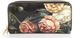 Лаковый вместительный кожаный качественный стильный женский кошелек барсетка Helen Verde art. 2547-F46 цветы