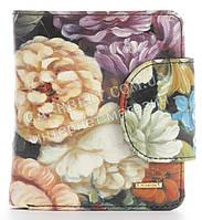 Лаковый прочный кожаный качественный стильный женский кошелек Helen Verde art. 2549-F46 цветы