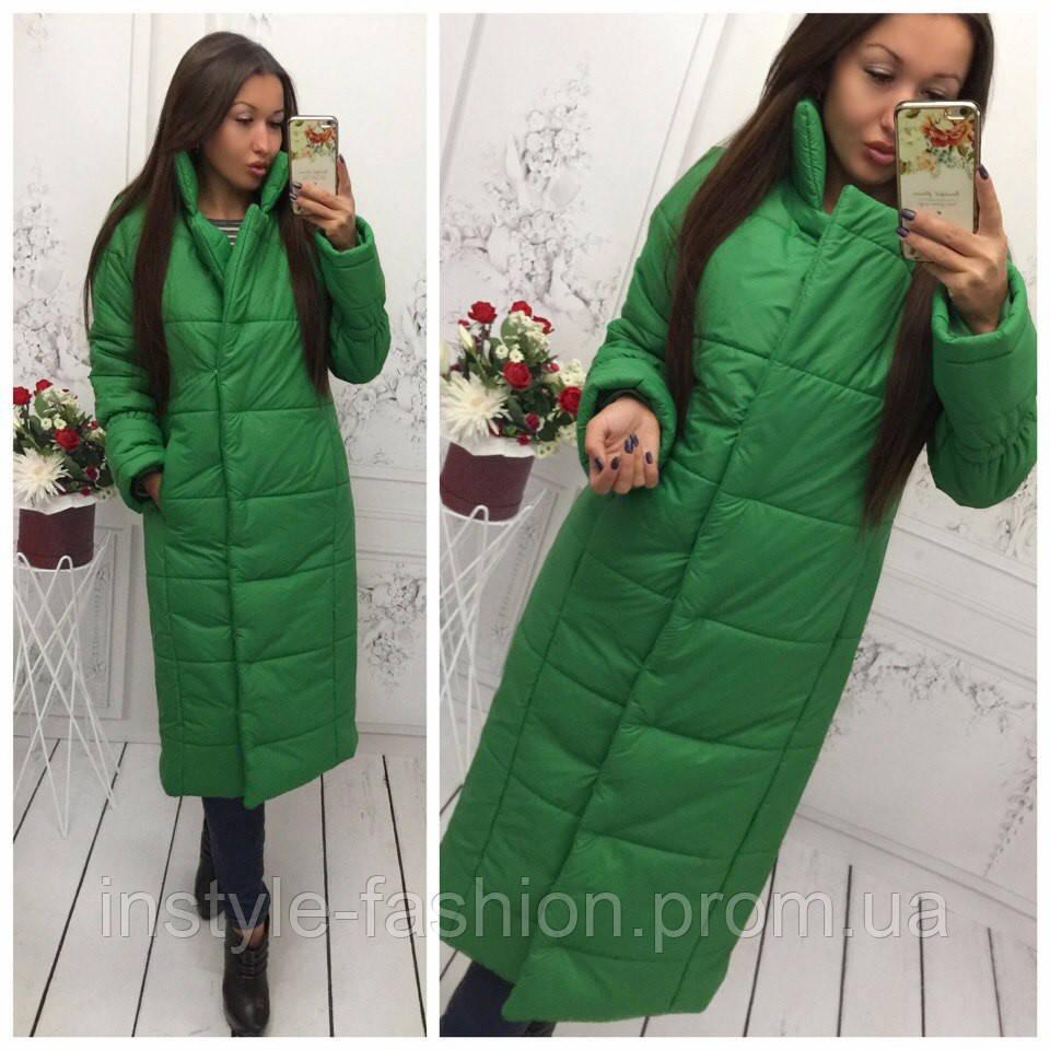 Женская удлиненная курточка на синтепоне 250 цвет зеленый