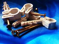 Обойма-хомут 10-12 с дюбелем и шурупом для крепления круглого провода(упаковка 100шт)