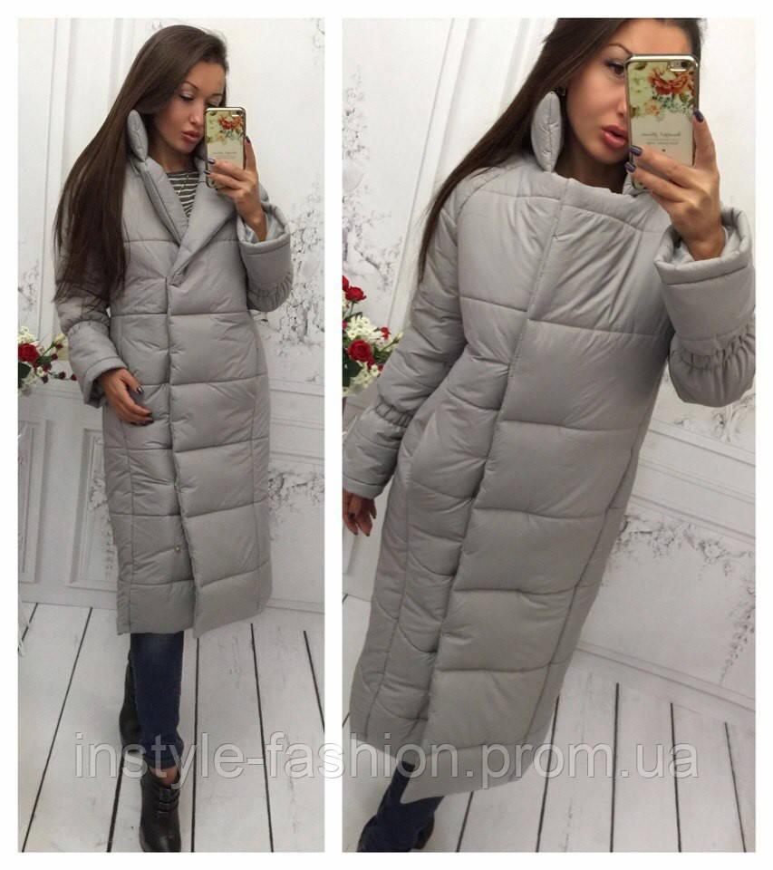 Женская удлиненная курточка на синтепоне 250 цвет серый