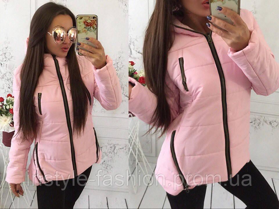 Женская курточка на синтепоне 200 цвет розовый