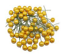 Ягоды Желтые глянцевые на проволоке 10 шт/уп 12 мм