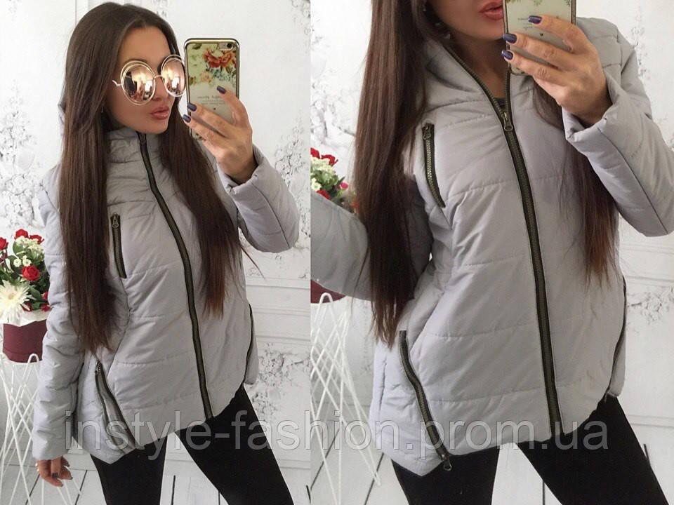 Женская курточка на синтепоне 200 цвет серый