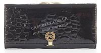 Лаковый элитный кожаный качественный стильный женский кошелек MARIO VERONNI art. MV-2308A черный