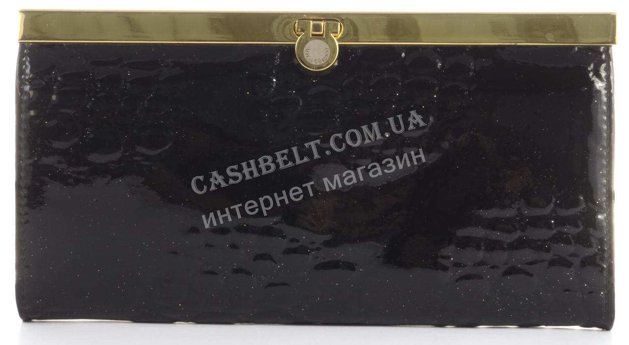 Лаковый элитный кожаный качественный стильный женский кошелек MARIO VERONNI art. MV-2306A черный