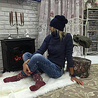 Женский теплый свитер ткань шерсть+акрил цвет темно-синий, фото 1