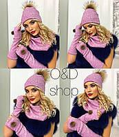Женский набор  шапочка+перчатки без пальцев+шарф хомут, ангора люкс качества,