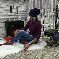 Женский теплый свитер ткань шерсть+акрил цвет бордовый, фото 1