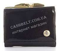 Лаковый элитный маленький кожаный качественный стильный женский кошелек MARIO VERONNI art. MV-8173A черный