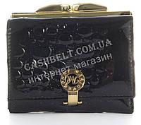 Лаковый элитный маленький кожаный качественный стильный женский кошелек MARIO VERONNI art. MV-2303A черный