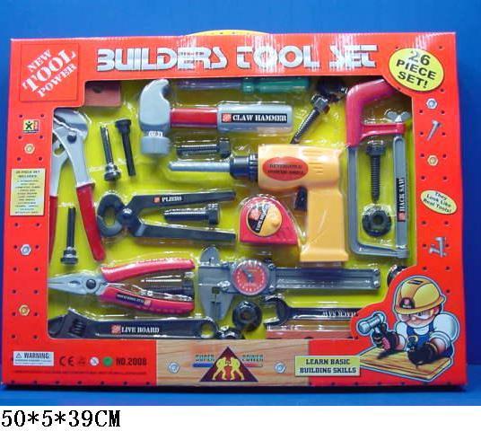 Набор инструментов в коробке пила молоток ключи плоскогубцы дрель