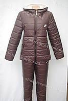 Женский теплый зимний костюм NIKE коричневый
