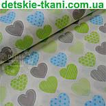 """Ткань """"Сердечки с узорами"""", цвет салатовый с голубым №464а, фото 3"""