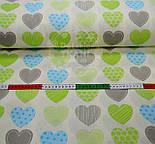 """Ткань """"Сердечки с узорами"""", цвет салатовый с голубым №464а, фото 4"""