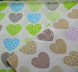 """Ткань """"Сердечки с узорами"""", цвет салатовый с голубым №464а, фото 6"""