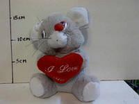 Мягкая игрушка Мышка с сердцем 18см.