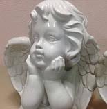 Скульптура Ангелочек из белого бетона 27 см, фото 2