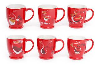 """Кружка фарфоровая кофейная """"COFFEE"""" (230 мл/4 вида) 588-123"""