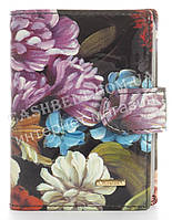 Кожаная лаковая стильная прочная визитница HELEN VERDE art. 2107-F46 цветы, фото 1