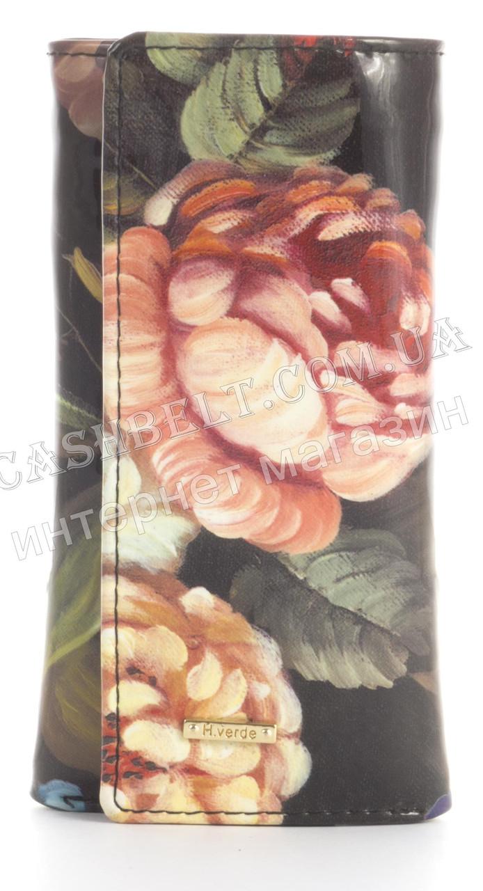 Стильна міцна лакова надійна шкіряна ключниця HELEN VERDE art. 2232B-F46 квіти