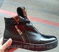 Ботинки-криперсы женские стильные натуральная кожа на толстой подошве