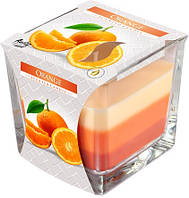 Свеча ароматизированная в стекле трехцветная апельсин 1шт