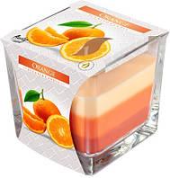 Аромасвеча в стекле трехцветная апельсин