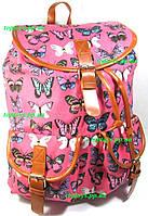 Рюкзак женский городской молодёжный розовый бабочки. Хит!