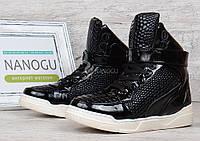 Ботинки слипоны женские лакированные принт завышенные Sneakersy, Черный, 37