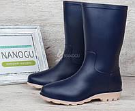 Сапоги резиновые женские синие Rubber boots женские резиновые сапоги