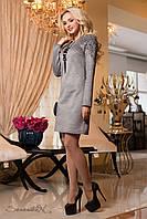 Модное замшевое платье с вышивкой прямого кроя осеннее 44-50 размеры